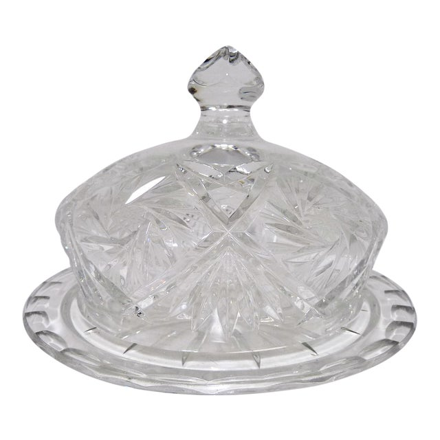 American Cut Crystal Dome Top Butter or Cheese Serving Dish For Sale - Image 3 of 9