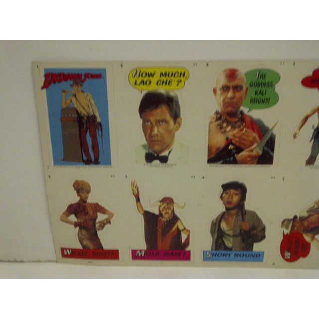 Vintage Un-Cut Sheet of Gum Card Stickers - Indiana Jones and the Temple of Doom For Sale - Image 5 of 6