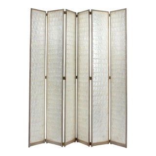 Early to Mid-20th Century Six-Panel Capiz Folding Screen For Sale
