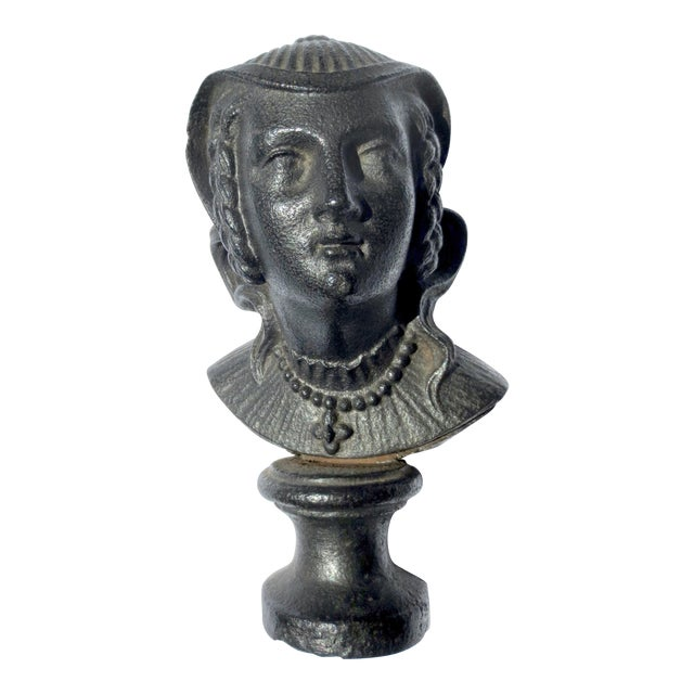 Early 20th Century Antique Cast Iron Mary Queen of Scotts Bust For Sale