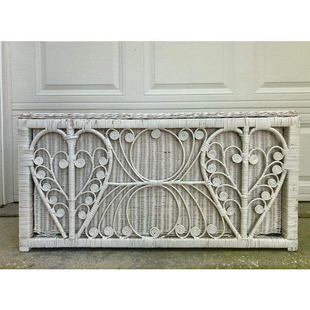 Paint White Heart Peacock Wicker Rattan Trunk For Sale - Image 7 of 7