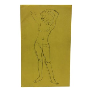 """Vintage Original Drawing on Paper, """"Arms Up Nude"""" by Tom Sturges Jr., Circa 1947 For Sale"""