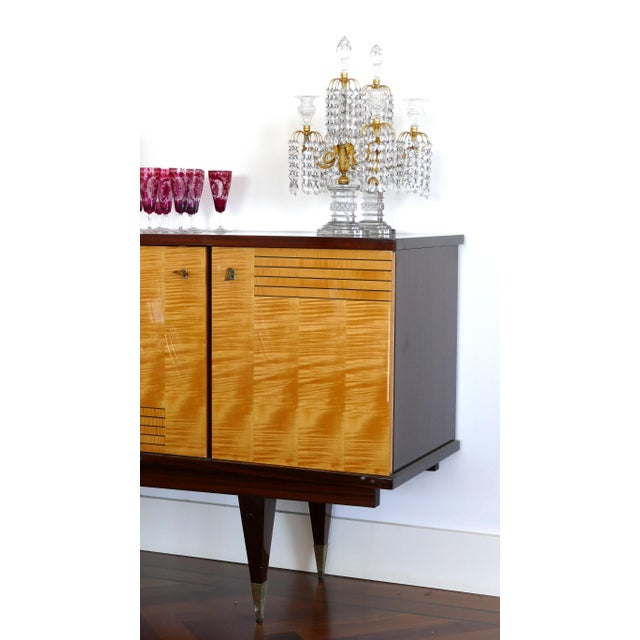 Metal Ameublement Nf Mahogany and Satinwood Credenza With Brass Hardware From France For Sale - Image 7 of 13