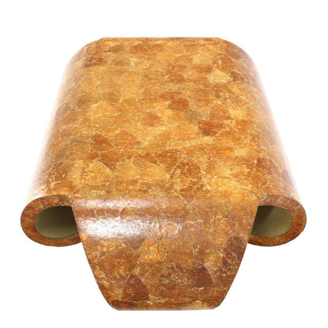 Mid-Century Scroll Side Egg Shell-Like Finish Coffee Table For Sale - Image 4 of 11