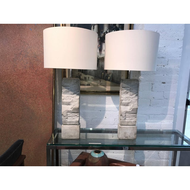 Cast Stoneware Rock Shaped Lamps Marked AP - a Pair For Sale - Image 10 of 11