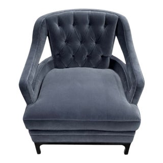 Dove Grey Velvet Tufted Club Chair For Sale