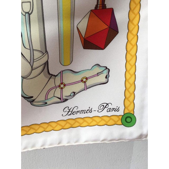 Hermès Hermes Les Cannes Silk Scarf in White For Sale - Image 4 of 11