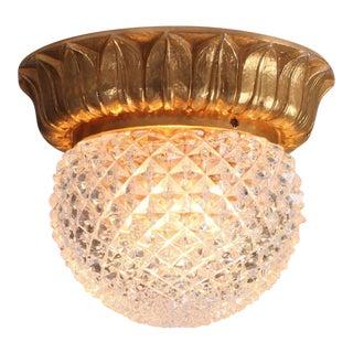 1 of 9 Glass Flush Mounts or Sconces on Gold-Plated Base by Glashütte Limburg For Sale
