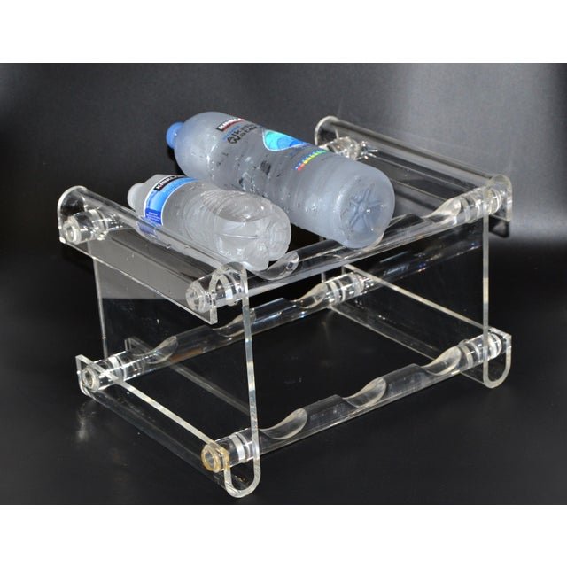 Mid-Century Modern Six Bottles Lucite Table Top Wine Rack Beverage Stand 70s For Sale - Image 11 of 13
