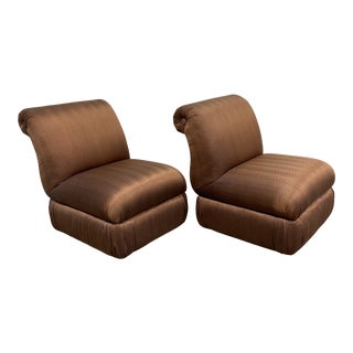 Copper Silk Shantung Rolled Back Slipper Chairs-A Pair For Sale