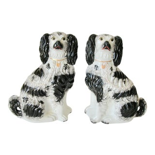 Antique Staffordshire Style King Charles Dogs - a Pair For Sale