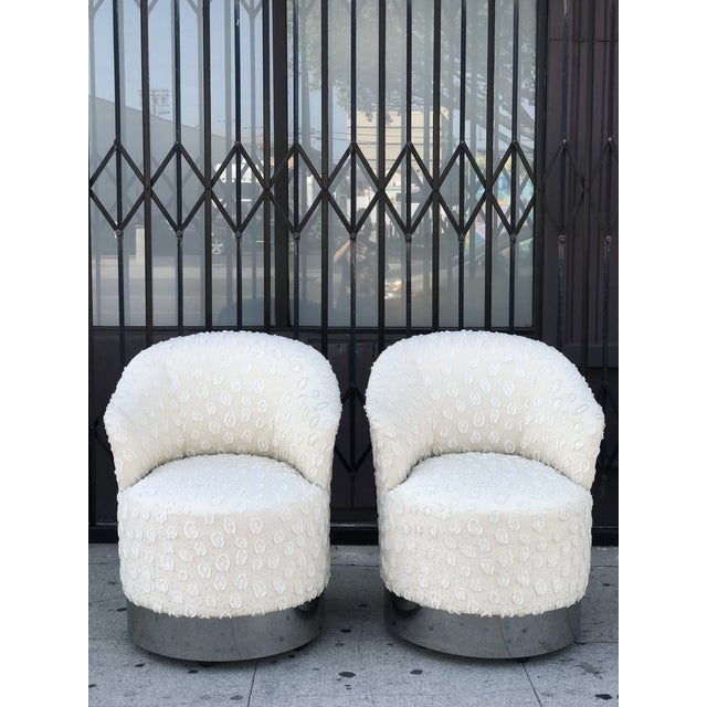 Rolling Chairs With Chrome Base in the Manner of Milo Baughman For Sale In Los Angeles - Image 6 of 13