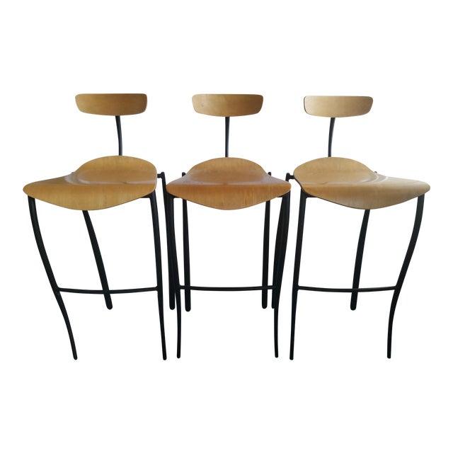 Modern Bar Stools - Set of 3 For Sale