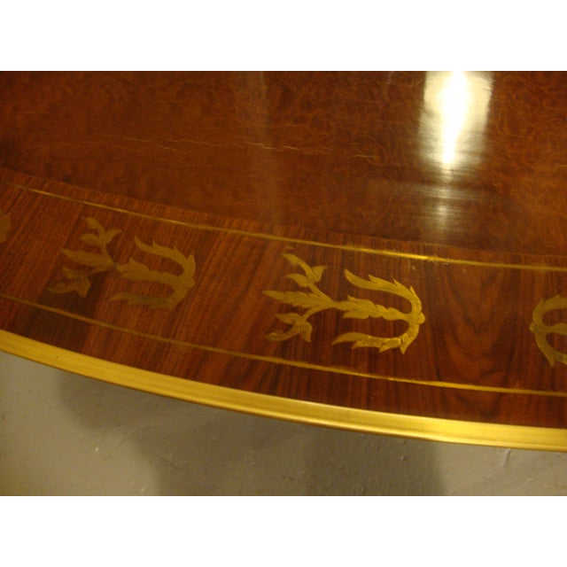 Brown Boule Inlaid Demilune Console Tables - A Pair For Sale - Image 8 of 11