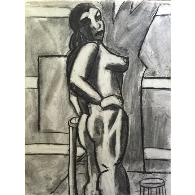 1950s Charcoal Drawing Bay Area Artist Female Nude For Sale