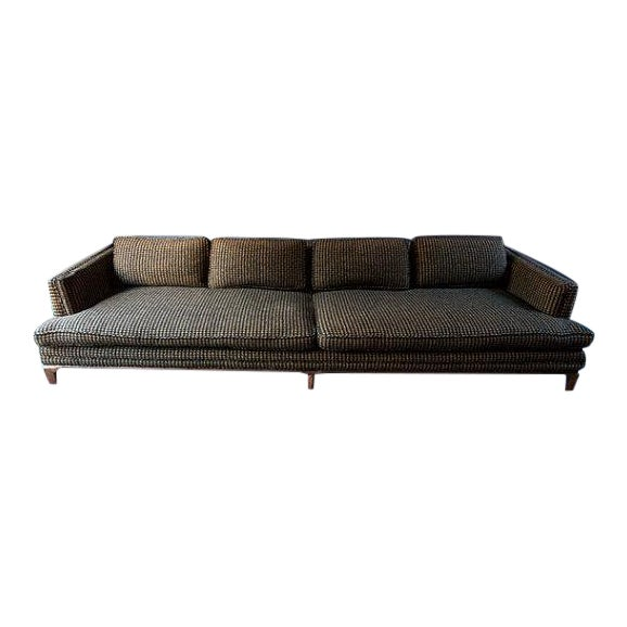 Monteverdi-Young Mid-Century Black Mustard Wool Herringbone Sofa - Image 1 of 7