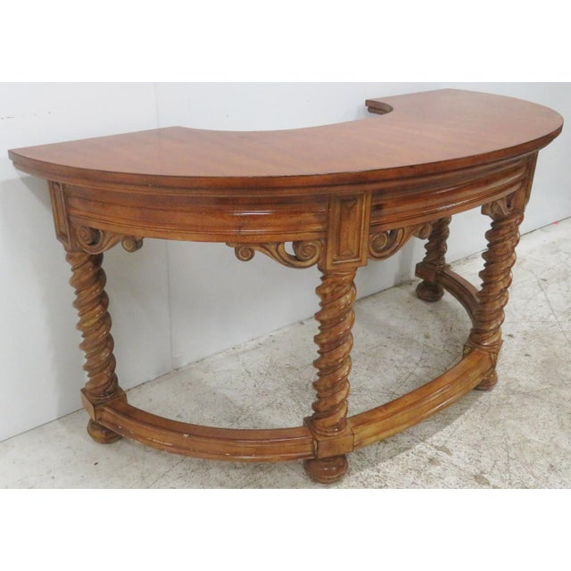 Brown Italian Style Faux Painted Demilune Desk For Sale - Image 8 of 10