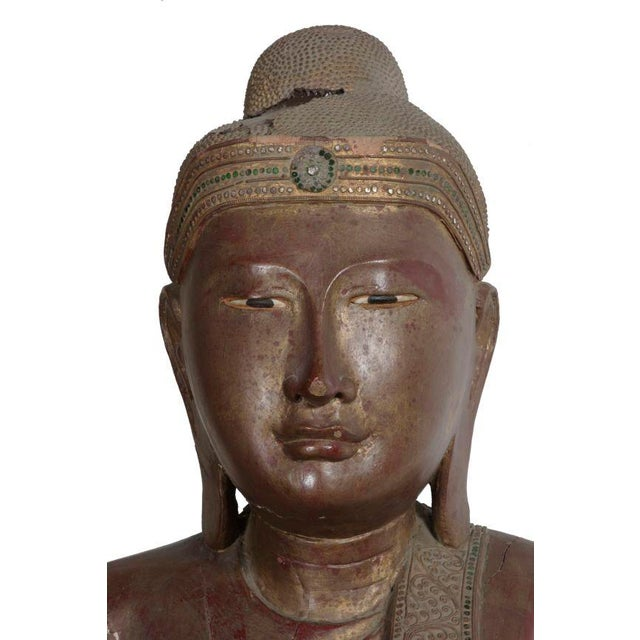 Carved Wood Buddha Statue - Image 5 of 8
