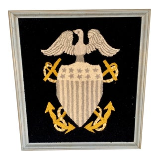 1960s Vintage Handmade Hooked Military Crest For Sale