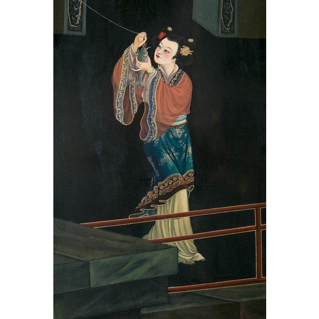 1930s 1930s Chinese Lacquered Six-Panel Screen For Sale - Image 5 of 8