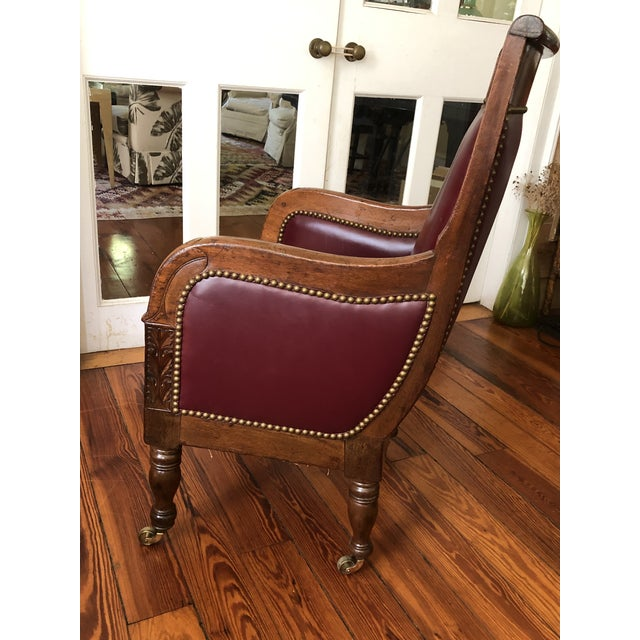 19th Century Empire Mahogany Library Chair on Brass Casters For Sale - Image 4 of 11
