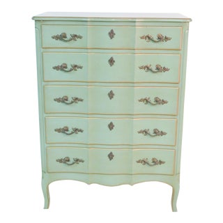 French Provincial Green & Gilt Painted High Chest