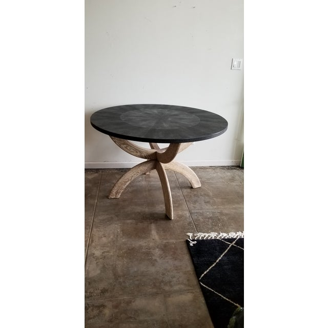 Made Goods Contemporary Black Shagreen Round Dining Table For Sale - Image 4 of 4