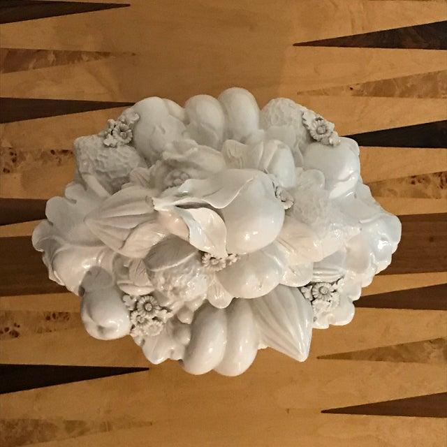 1960s Italian White Ceramic Fruit Basket Centerpiece For Sale - Image 5 of 12