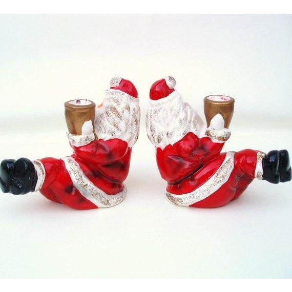 Santa Claus Candle Holders - A Pair - Image 4 of 6