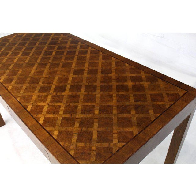 Italian Parquet Marquetry Burl Walnut Top Parsons Desk Writing Table Two Drawers For Sale - Image 4 of 10