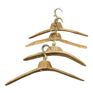 Vintage Rattan Coat Hangers — Set of 4 For Sale