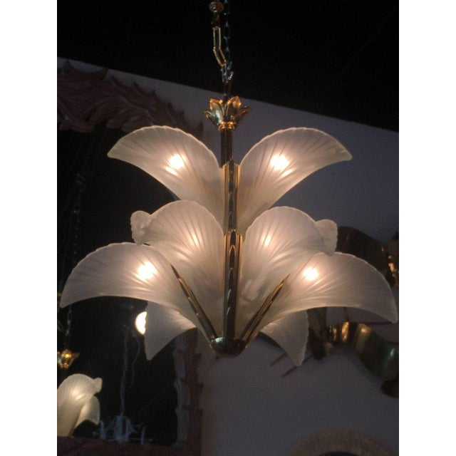 White Italian Murano Glass & Brass Palm Tree Frond Leaf Chandelier For Sale - Image 8 of 12