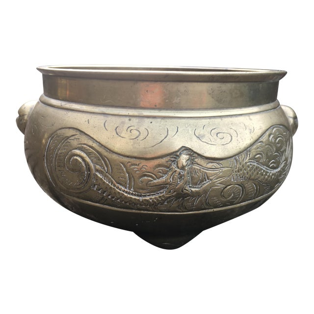 Image of 1940s Vintage Rare Chinoiserie Etched Brass Planter