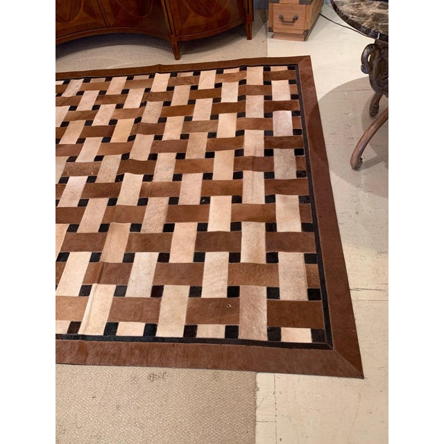 Geometric Patchwork Cowhide Area Rug For Sale - Image 12 of 13