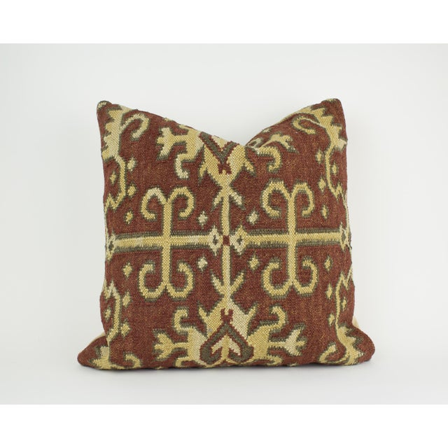 Abstract Brown and Tan Wool Textile Kilim Pillow For Sale - Image 3 of 9