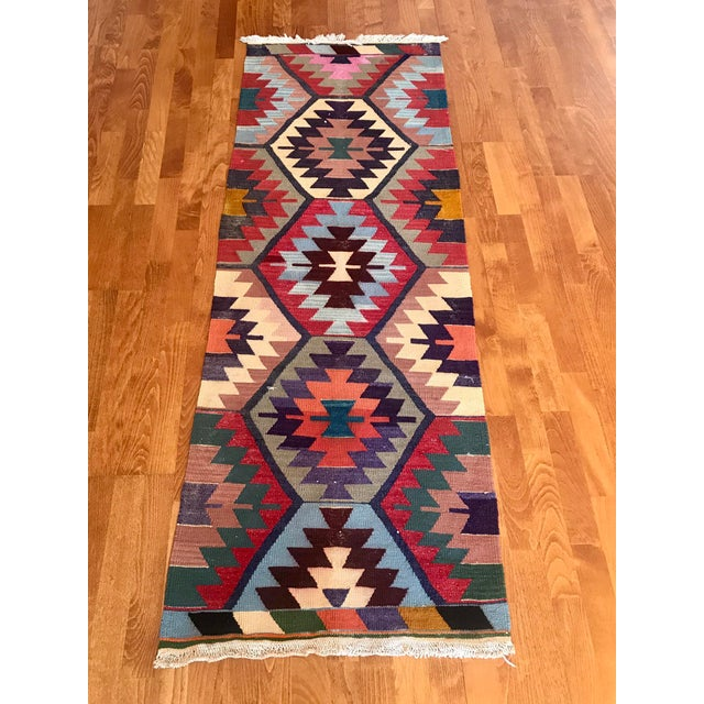 "Tribal Vintage Turkish Kilim -2'2"" 6'3"" For Sale - Image 3 of 11"