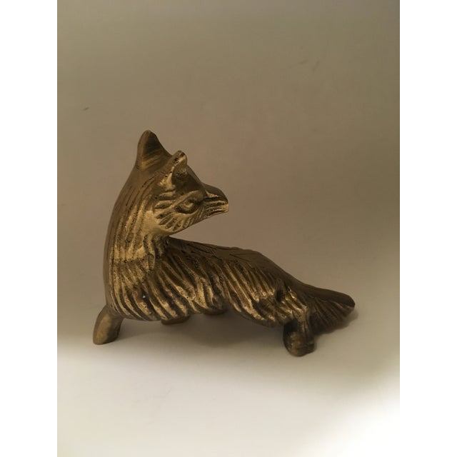 Vintage Solid Brass Fox Paperweight For Sale - Image 4 of 6