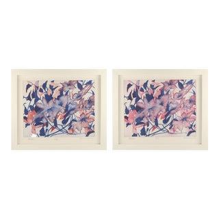 Blush & Purple Blossom Paintings - a Pair