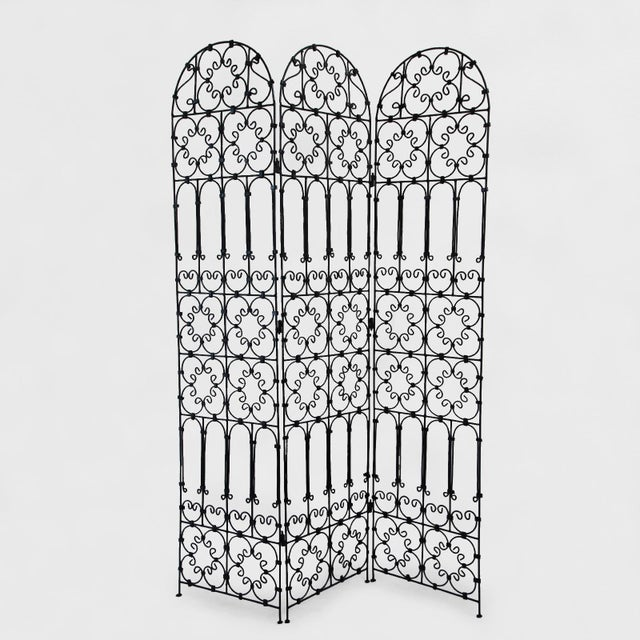 Three Panel Iron Screen For Sale - Image 4 of 4