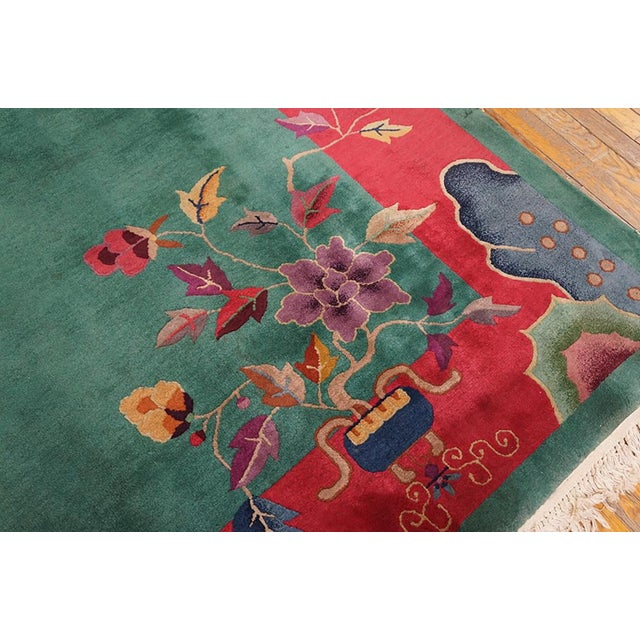 "1920s Antique Art Deco Chinese Rug 9'2"" X 11'8"" For Sale - Image 4 of 6"