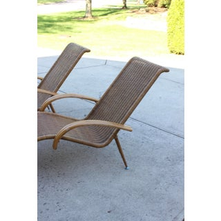 Mid Century Modern Danish Sculptural Woven Rattan Chaise Chairs - a Pair Preview