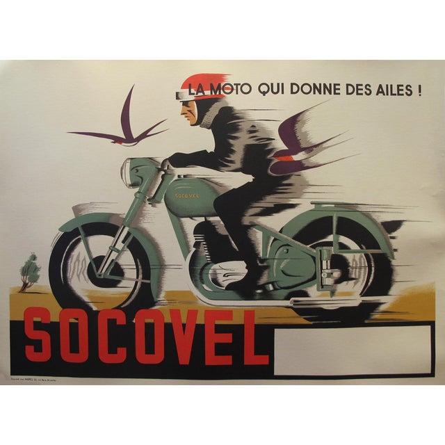 1940s Belgian Art Deco Motorcycle Poster - Image 2 of 5