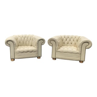 1970s Vintage Chesterfield Armchairs- a Pair For Sale