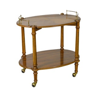 French Louis XVI Style Oak Rolling Serving Cart by Butler For Sale