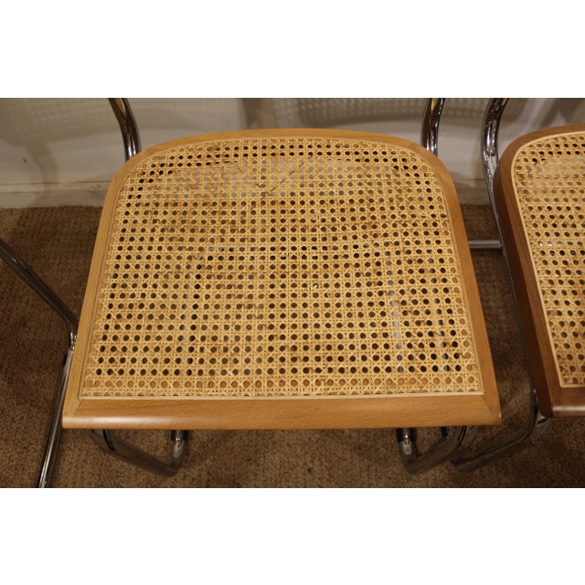 Mid-Century Danish Modern Marcel Breuer Style Caned Dining Chairs - Set of 6 - Image 4 of 10