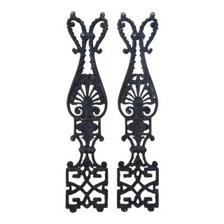 Antique French Black Cast Iron Architectural Details - a Pair