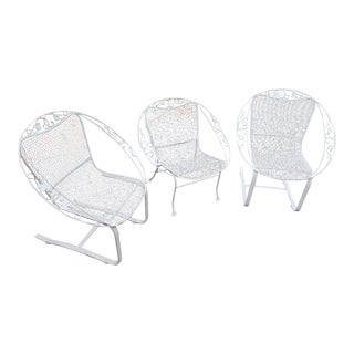 Mid-Century Modern Woodard Ivy Leaf Chair Set- 3 Pieces For Sale