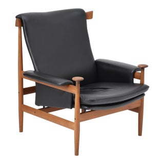 Black Reupholstered Bwana Model 152 Lounge Chair by Finn Juhl for France & Son For Sale