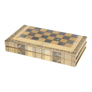 English Silver-Gilt Book-Form Chess and Backgammon Game Board, C. 1976 For Sale