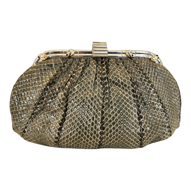 Vintage Judith Leiber Grey Python Clutch With Frog Charm Detail For Sale